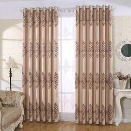 Noble and Elegant Chenille Embroidered 2 Panels Grommet Top Curtains