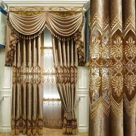 Elegant and Luxury Embroidered Floral Royal Style 2 Panels Custom Curtains