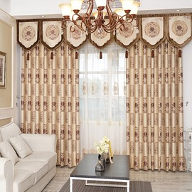Luxury Golden Pattern Royal Style High Quality Chenille Curtains For Living Room