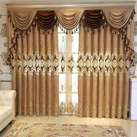 Elegant Embroidered Coffee Color Blackout Custom Curtain Panels