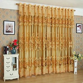 Luxury Golden Embroidered Thick Polyester Custom Blackout Air Permeable Grommet Curtains