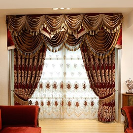 Luxury Thick Chenille Blackout Burgundy Curtains Grommet Top for Living Room and Bedroom