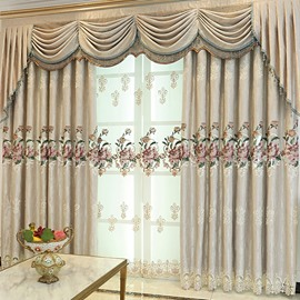 European Living Room Embroidered Chenille Blackout Custom Grommet Curtains