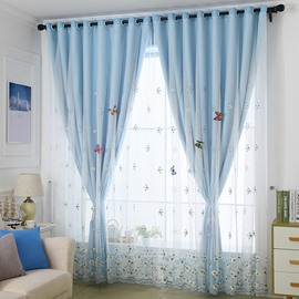 Embroidery Blackout and Decorative Cloth and Sheer Sewing Together Blue 2 Panels Curtain