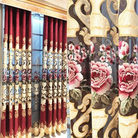 European Embroidery Hollowed-out Blackout Curtains for Living Room Custom 2 Panels Burgundy Drapes No Pilling No Fading No off-lining