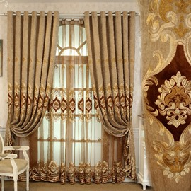 European Floral Embroidery Grommet Shading Curtains Polyester Decoration Blackout Custom 2 Panels Drapes for Living Room Bedroom  No Pilling No Fading No off-lining