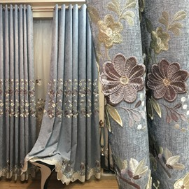 European Floral Embroidery Grommet Shading Curtains Chenille Blackout Curtain Custom 2 Panels Drapes for Living Room Bedroom Decoration No Pilling No Fading No off-lining