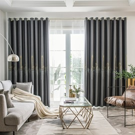 Modern Silk Embroidered Shading Curtains Gray Blackout Curtain Custom 2 Panels Drapes for Living Room Bedroom Decoration No Pilling No Fading No off-lining