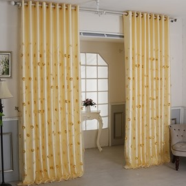 European Yellow Embroidery Floral Curtain Sets Sheer and Lining Blackout Curtain for Living Room Bedroom Decoration