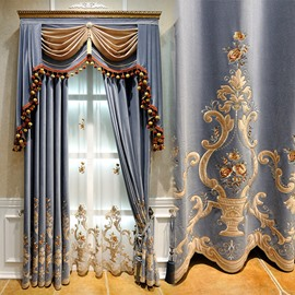 European Luxury Flannel Embroidery Shading Curtains Blackout Curtain for Living Room Bedroom Custom 2 Panels Drapes No Pilling No Fading No off-lining