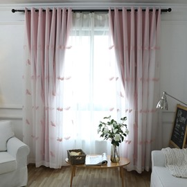 Modern Pink Butterfly Embroidery Curtain Sets Sheer and Lining Blackout Curtain for Living Room Bedroom Decoration No Pilling No Fading No off-lining