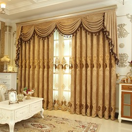 European Luxury Chenille Embroidered Shading Curtains Coffee Blackout Curtain for Living Room Bedroom Custom 2 Panels Drapes No Pilling No Fading No off-lining