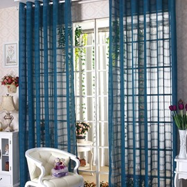 Elegant Contemporary Indigo-Blue Custom Sheer Curtain