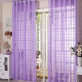 Decorative Elegant Contemporary Purple Solid 2 Panels Custom Sheer Curtain and Drapes