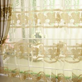 High Class Elegant Golden Peony Printing Custom Sheer Curtain