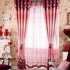 High Class Romantic Elegant Vibrant Red Custom Sheer Curtain