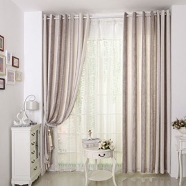 Stylish Vertical Stripes Coffee Gray Grommet Top Custom Sheer Curtain