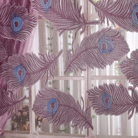 Decorative Polyester Sheer Peacock Feather Printing Noble Style Purple Color Sheer