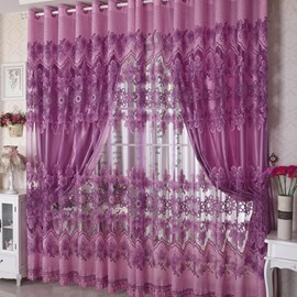 Decorative Polyester Purple Damask Flowers European Style Custom Sheer Curtain