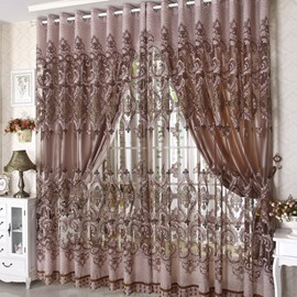 Blackout Polyester Coffee Color Damask Pattern Printing Noble Style Custom Sheer Curtain