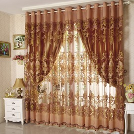 Classic Luxury Exquisite Flowers Pattern Custom Sheer Curtains