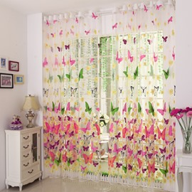 Decorative and Shading Polyester Colorful Butterflies Printed Pastoral Style Sheer Curtain and Drapes