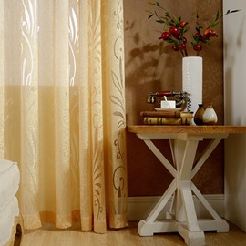 Decorative Polyester Flowers Hollowing Pattern Yellow Color European Style Golden Custom Sheer Curtain