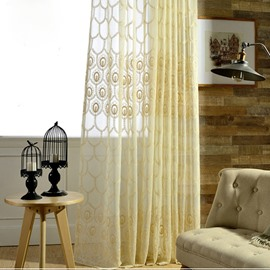 Gorgeous Embroidered Beige Custom Sheer Curtain