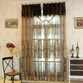 Decoration Polyester Embossed Damask European Style Light Brown Custom Sheer Curtain and Drapes