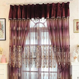 Romantic European Style Embossed Embroidery Purple Custom Sheer Curtain