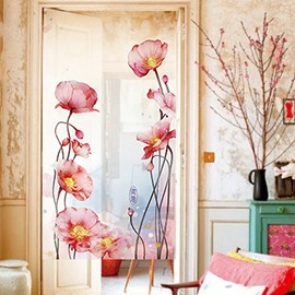 Chinese Style Ink Art Poppy Flower Doorway Sheer Curtain