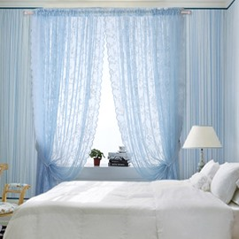 Romantic Blue Lace Sheer Curtain with Waves Edge