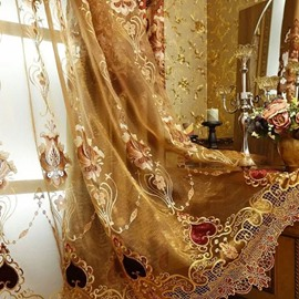 Ventilate Embroidery Luxury Golden Custom Sheer Curtain
