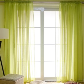 Concise Solid Lemon Yellow Custom Sheer Curtain