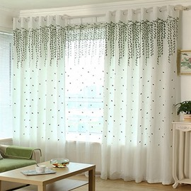 Country Style Green Willow Twig Embroider Custom Sheer Curtain