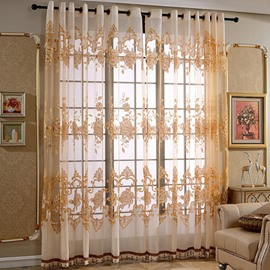 Luxury European Style Golden Peony Printing Custom Sheer Curtain