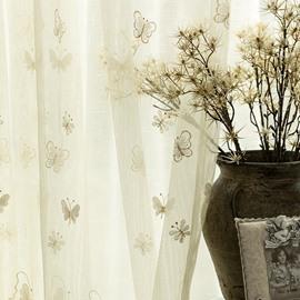 Elegant Beige Embroidery Butterfly Custom Sheer Curtain