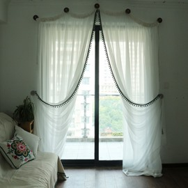 Romantic White Linen and Cotton Blending Custom Sheer Curtain for Living Room & Bedding Room