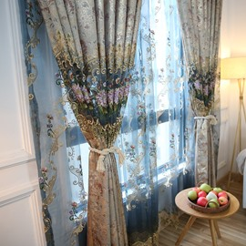 Decorative and Breathable Polyester Sheer Embroidered Flowers 2 Panels Sheer Curtain