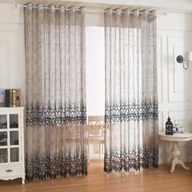 Peacock Feather Pattern Chiffon Embroidery Custom Cafe Sheer Curtains 2 Panels Net Curtains for Living Room