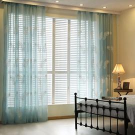 Dreamy Feather Embroidery Blue Custom Sheer Curtain