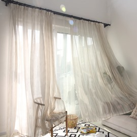 Modern Style Cotton and Linen Blending Custom Sheer Curtain