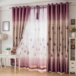 Ventilate Purple Tree and Leaves Printed Custom Sheer Curtain