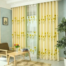 Blackout and Decoration Polyester Embroidery Blooming Sunflowers Modern Style Sheer Lining