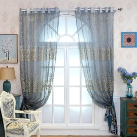 Decoration Polyester Flowers Printing Blue Solid Luxury Style Sheer Curtain and Drapes