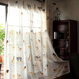 Decoration Polyester Printing Animals Paradise Modern Style Sheer Curtain and Window Drapes