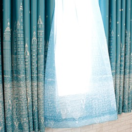 Dust-Proof and Decorative Polyester Sheer City Scenery Modern Style 2 Panels Sheer Curtain