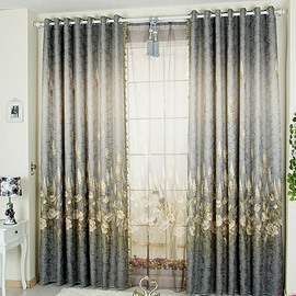 Decorative Polyester Polyester Printing Plants and Flowers European Style Sheer Curtain