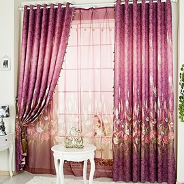 Decorative Polyester Polyester Printing Plants and Flowers Royal Style 2 Panels Sheer Curtain