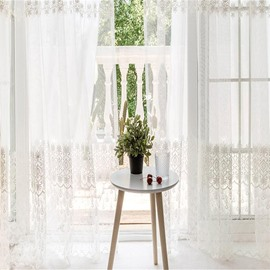 Korean Style Pastoral White Color with Embroidered Lace Custom Sheer Curtain